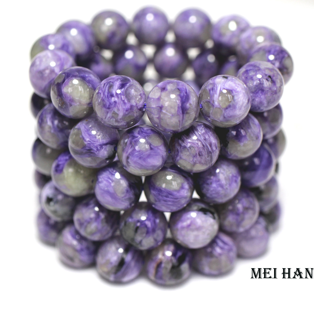 Meihan Wholesale Natural 14 beads set 53g russian charoite 14mm smooth round charm gem stone for