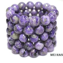 Meihan Wholesale Natural (14 beads/set/53g) russian charoite 14mm smooth round charm gem stone for jewelry making