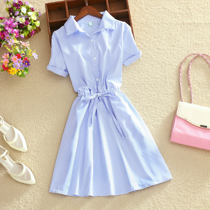 Elegant Office Summer Dress Shirt Elegant Blue Stripped Cotton Turn Down Collar Wear to Work Shirts Women Dresses NEW C0475