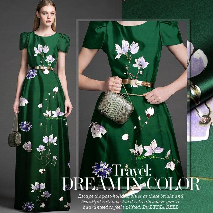 118 cm large 19mm 93% soie et 7% spandex imprimé floral vert foncé soie  satin tissu pour la robe chemise vêtements cheongsam D382 9cae85f54c02