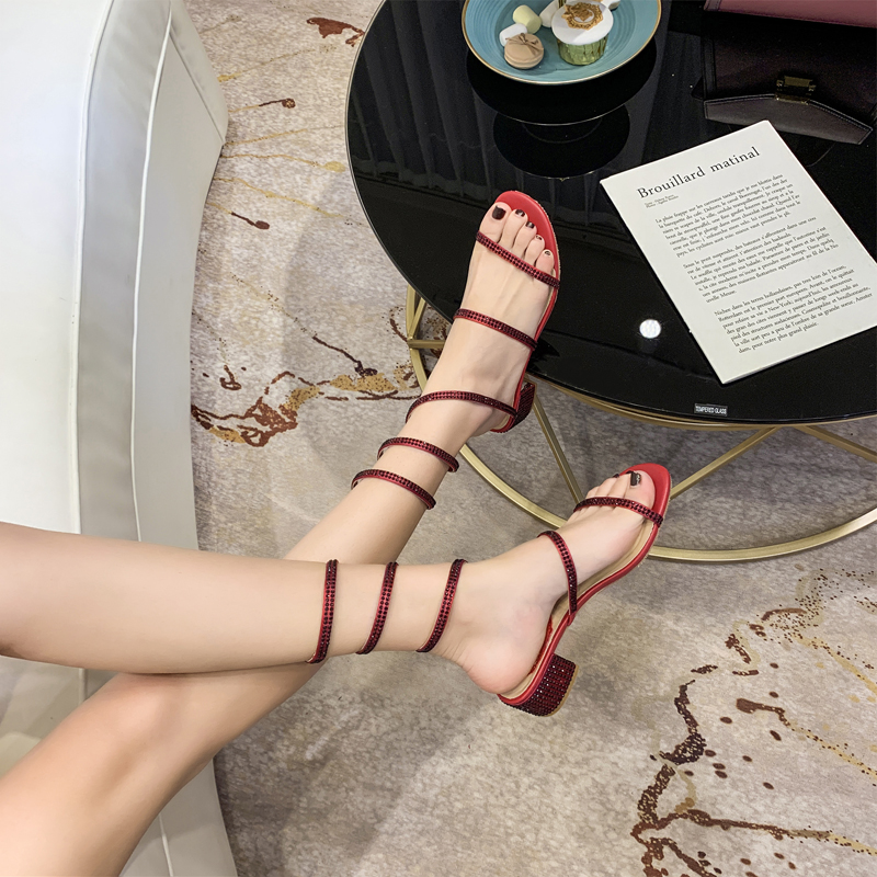 HTB1LAgKaHr1gK0jSZR0q6zP8XXak Summer Women Sandals 2019 Fashion Sexy Rhinestone Mid Heel Tied Party Breathable Comfort Shopping Woman Walking Casual Shoes