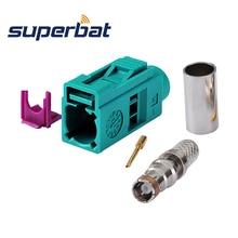 Superbat 10 sztuk Fakra złącze Crimp Jack Waterblue /5021 neutralne kodowanie dla kabla koncentrycznego LMR195 RG58