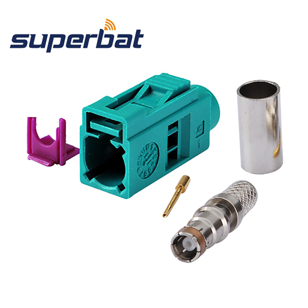 Superbat 10pcs RF Fakra Connector Crimp Jack Female Waterblue /5021 Neutral Coding For Coaxial Cable LMR195,RG58