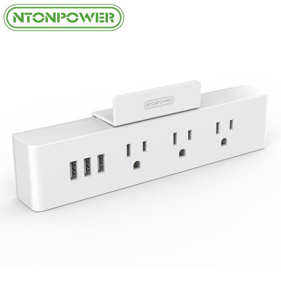 NTONPOWER MNC Tường Gắn USB Ổ Cắm Điện US Standard Điện Cắm 3 AC Outlet 3 USB Sạc Thông Minh Cổng với Người Giữ Điện Thoại