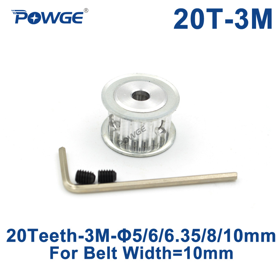 POWGE 20 Teeth HTD 3M Timing Pulley Bore 5/6/6.35/7/8/10mm for Width 10mm 3M synchronous belt HTD3M pulley Belt gear 20Teeth 20TPOWGE 20 Teeth HTD 3M Timing Pulley Bore 5/6/6.35/7/8/10mm for Width 10mm 3M synchronous belt HTD3M pulley Belt gear 20Teeth 20T