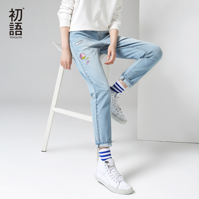 Toyouth Denim   Jeans   Women 2018 New Pattern Embroidery Ladies   Jeans   Mid-Waist Full Length Slim Casual Pants
