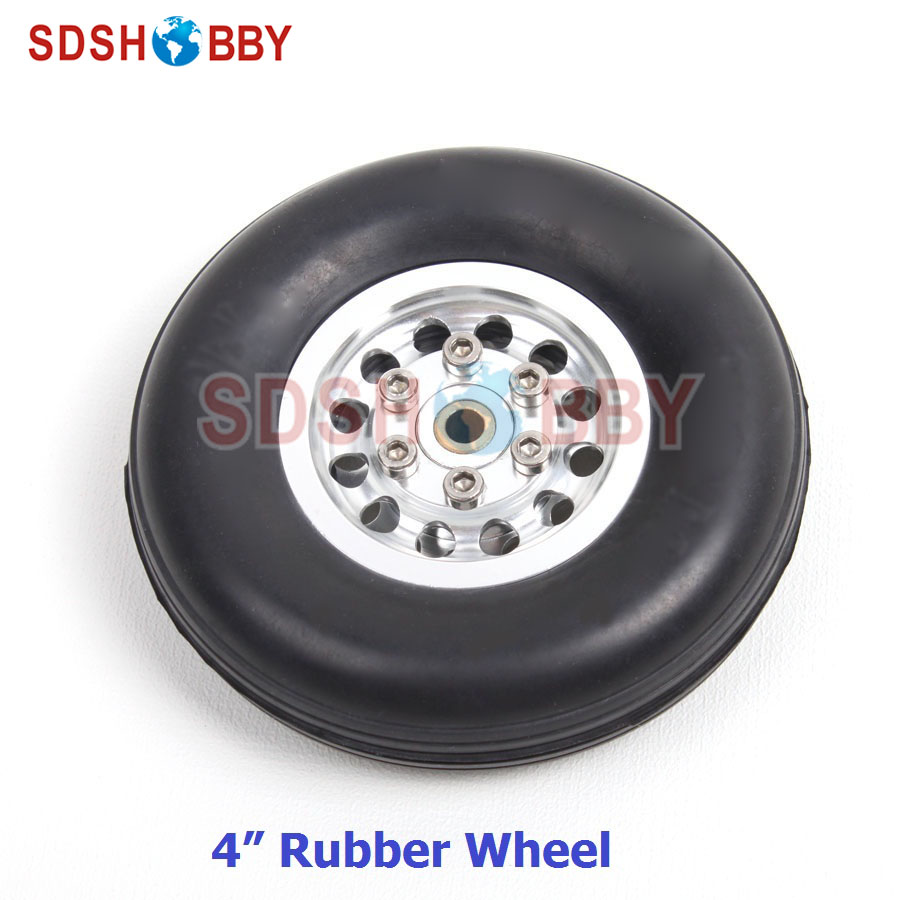 RC Airplane 4in/105mm D105*H28*5mm Rubber Wheel with CNC Aluminum Hub image