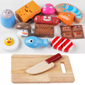 14 Pcs/Set Wooden Delicious Food Expressions Kitchen Cutting Toy Early Development and Education Toy for Kids Baby