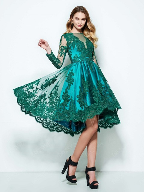 Vintage Turquoise Long Sleeve Lace Applique High Low Knee Length Homecoming  Dress b50e5167b