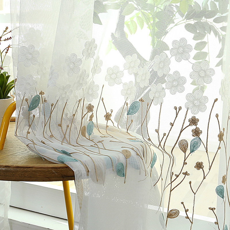 Tiyana Leaves Flower Embroidered  Sheer Curtain For Living Room Curtains Bedroom Kitchen Window Treatment Voile Drapes M044#4