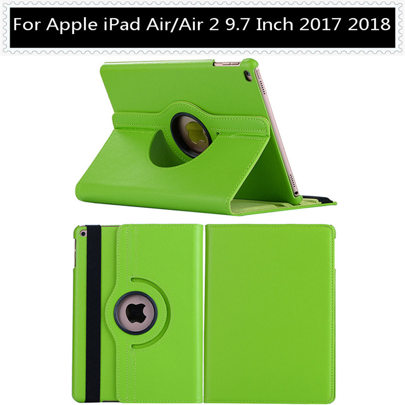 Luxury Solid Green Protective Case Cover For Apple iPad 9.7 2018 2017 5th 6th Generation Air 1 Air 2 360 Rotating Tablet PC Case