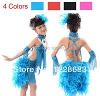 Nieuwe Collectie Kinderen Meisjes Rode Hot Roze Zwart Blauw Veer Fringe Sequin Latin Dance Jurk Voor Verkoop