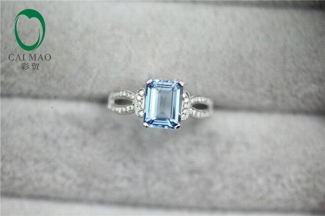 1.25ct в . с . аквамарином и 0.23ct природный вымостите алмаз настоящее 14 К белое золото обручальное кольцо