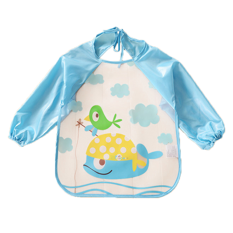 Newborn Baby Bibs Kids Child Cartoon Long Sleeve Baby Waterproof Bibs Feeding Clothing Accessories BB033 Baby Bibs & Burp Cloths