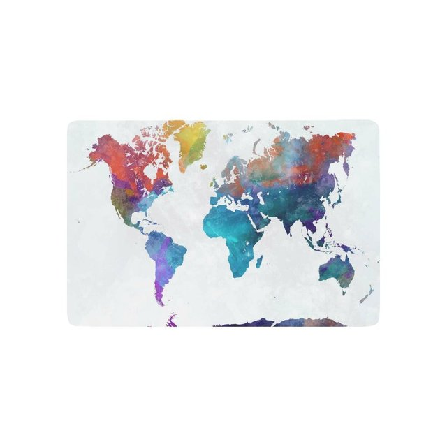 Abstract art door mat world map in watercolor splatter indoor abstract art door mat world map in watercolor splatter indoor outdoor entrance doormat rubber backing 236 gumiabroncs Gallery
