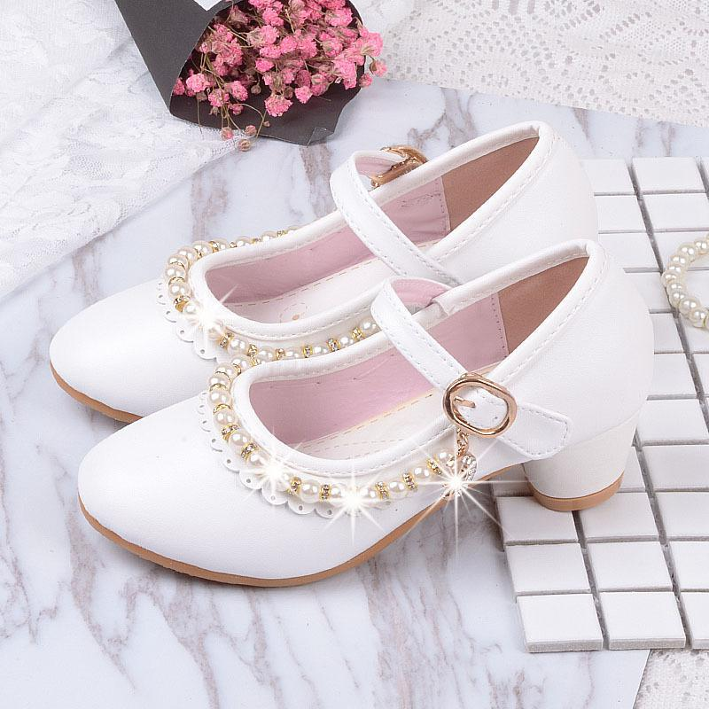 Girls High Heels Summer Kids Shoes New For Girls Brand Princess Sandal Girl Infants PU Leather Shoes Ankle-Wrap A338