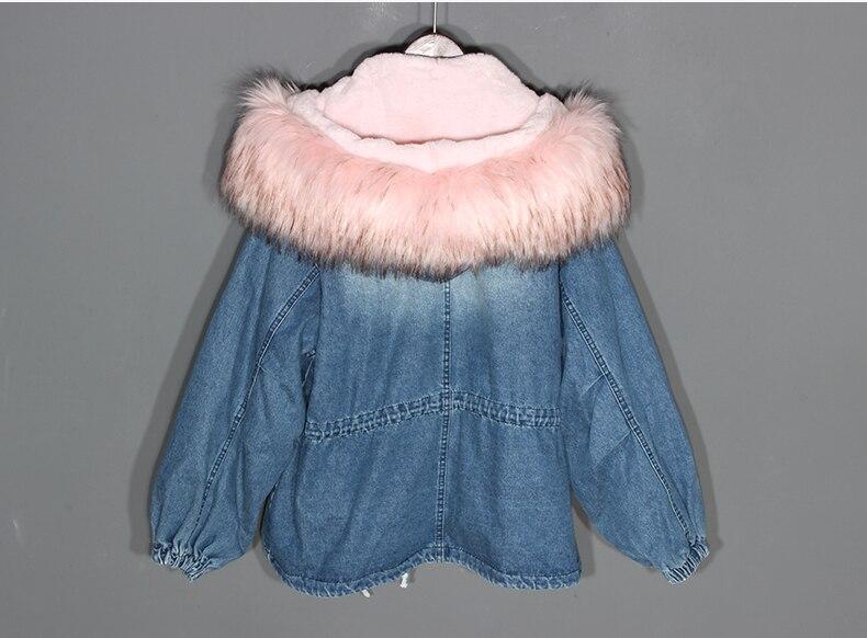 Unique Double Blue Denim Bouton Lâche Revers Joker Casual Épais 2018 Automne Manteaux Hiver Vestes Et Polaire Femmes Poitrine Tops zpxWBwU6q