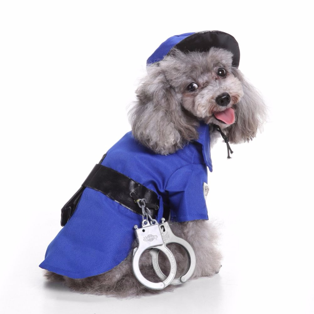 police suit with hat set with hat Pet Coat Apparel With Cap for Winter for Cat Small Dog Puppy New Halloween dog