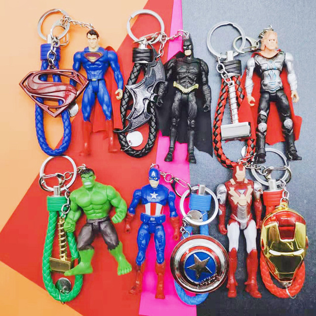 2019 Marvel Superhero Anel Chave Vingadores Capitão América Homem De Ferro Hulk Batman Thor Presente Brinquedo da Boneca Chaveiro Xhildren