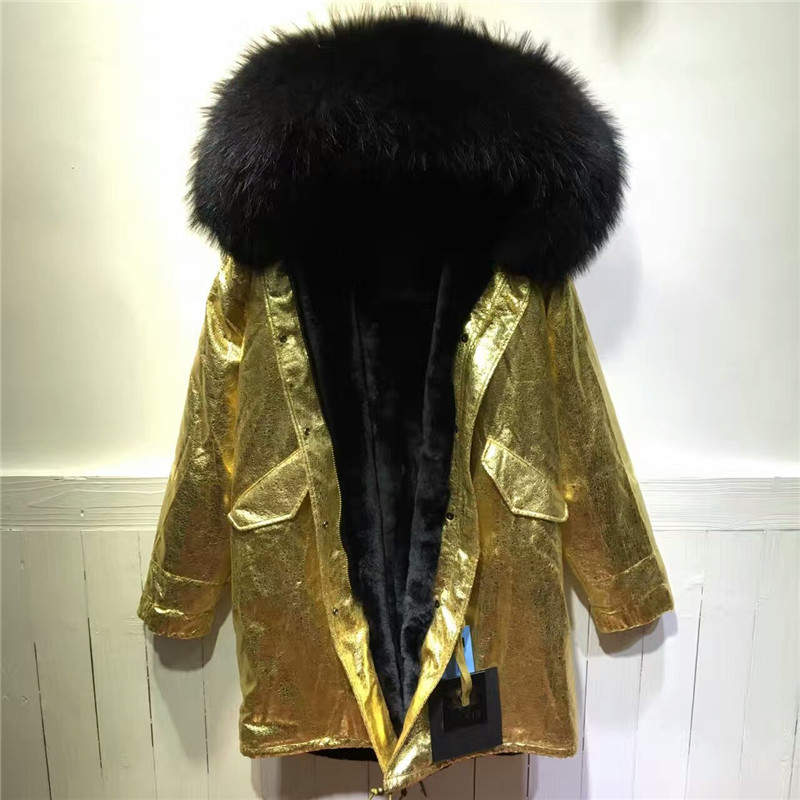Long Style Gold Leather Jacket black inside winter fur parka hooded zipper coat
