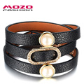 MOZO FASHION Women Black/Brown Leather Wrap Bracelets CZ Simulated Shell Pearl Charm Bracelet Vintage Jewelry Adjustable MPH1065