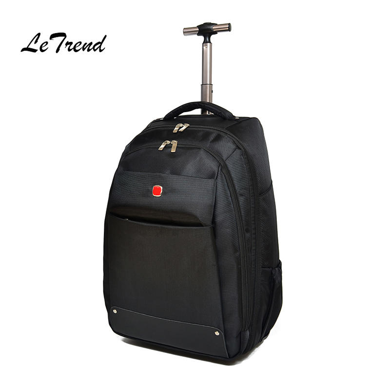 купить Letrend Business Backpack Oxford Travel Bag Men Suitcase Wheels Trolley Student Large Capacity Carry On Rolling Luggage Women по цене 5560.38 рублей