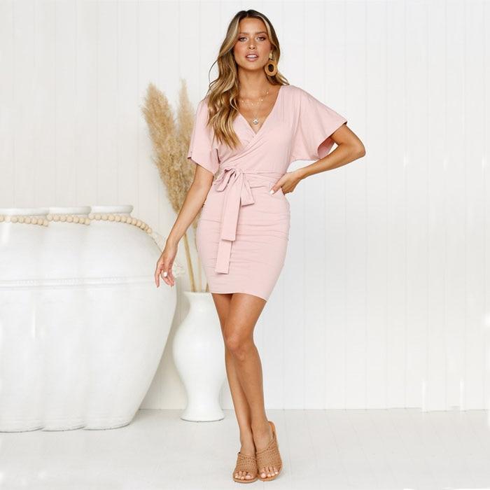 Женское сексуальное платье с V-образным вырезом, Женские однотонные модные лучшие платья-карандаш, женское повседневное элегантное платье, ...