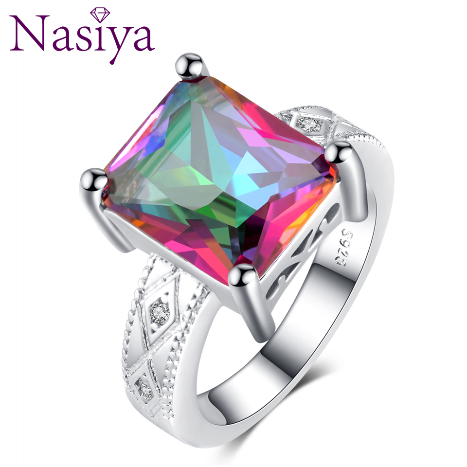 Finger Rings For Women Solid 925 Sterling Silver Ring With Rainbow Topaz Top Quality Gemstone Ring Party Wedding Gifts Size 6-10
