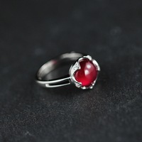 Free shipping The character 925 Solid Sterling Silver jewelry handmade lady Thailand folk style red corundum Ring more style