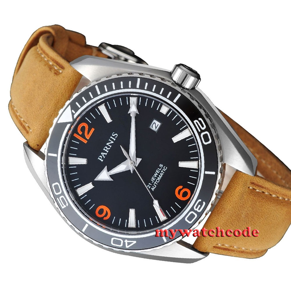 45mm Parnis Orange numbers Sapphire Glass Ceramic Bezel Automatic mens Watch 388 45mm parnis sapphire glass ceramic bezel luminous automatic men 316l watch