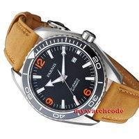 45mm Parnis Orange numbers Sapphire Glass Ceramic Bezel Automatic mens Watch 388