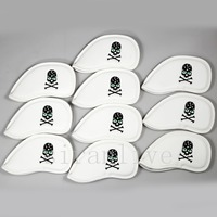 10Pcs Golf Club Iron Headcover Head Covers Slap Up Pu With Skull Number Golf Protection Set