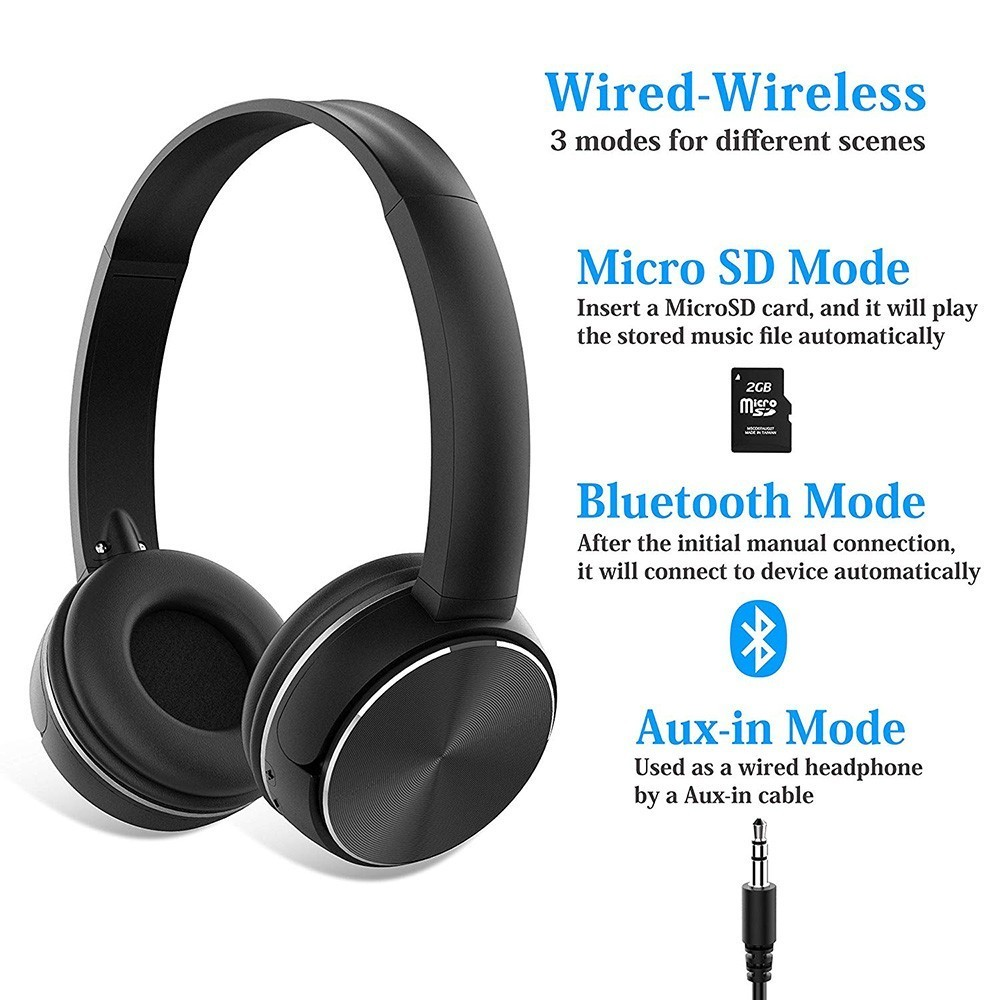 Bluetooth Wireless Headphones 6 Colors Sport Headset Connect 3 5 mm Audio Cable With Mic FM Radio TF Card For PC Mobile Phone in Bluetooth Earphones Headphones from Consumer Electronics