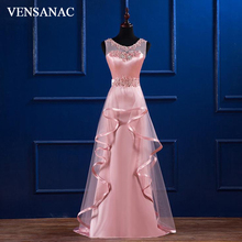VENSANAC 2018 Embroidery O Neck Ruffles A Line Long Evening Dresses Lace Party Crystals Sash Sweep Train Prom Gowns