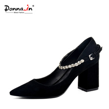 DONNA IN 2017 NEW STYLE POINTED TOE PUMPS THICK HEEL NATURAL KID SUEDE WOMEN SHOES DIAMOND