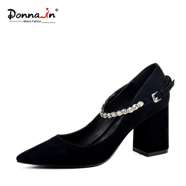 DONNA-IN 2017 Новый стиль туфли-лодочки с острым носком на толстом каблуке Естественный Ребенок замши женская обувь со стразами на высоком каблуке кожаные женские обувь