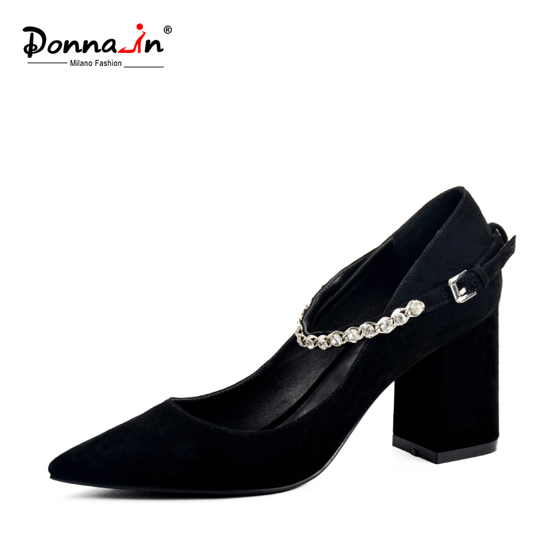 Donna-in 2018 New Style Pointed Toe Pumps Thick Heel Nature Kid Suede Women Shoes Diamond Strap High Heels Leather Ladies Shoes donna in pumps women black genuine leather high heels platform round toe thick heel women shoes new fashion sexy ladies pumps