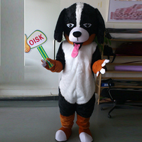 ohlees Actual Picture Black&White Pekingese Dogs Mascot Costume Adult Size Outfit Plush Doll Fancy Dress