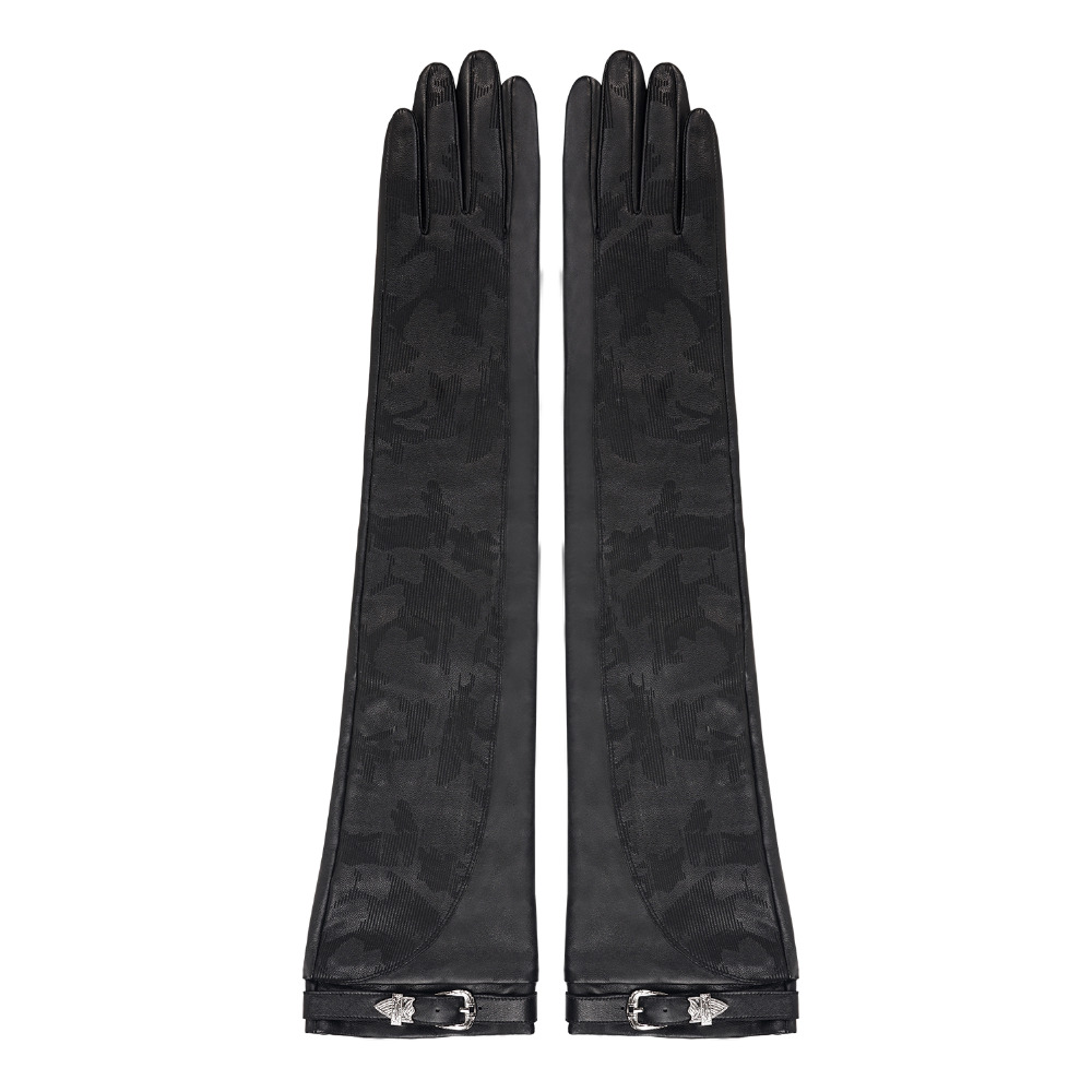 Женские длинные кожаные перчатки FIORETTO, теплые зимние перчатки с камуфляжным принтом, черные перчатки для вождения - 3