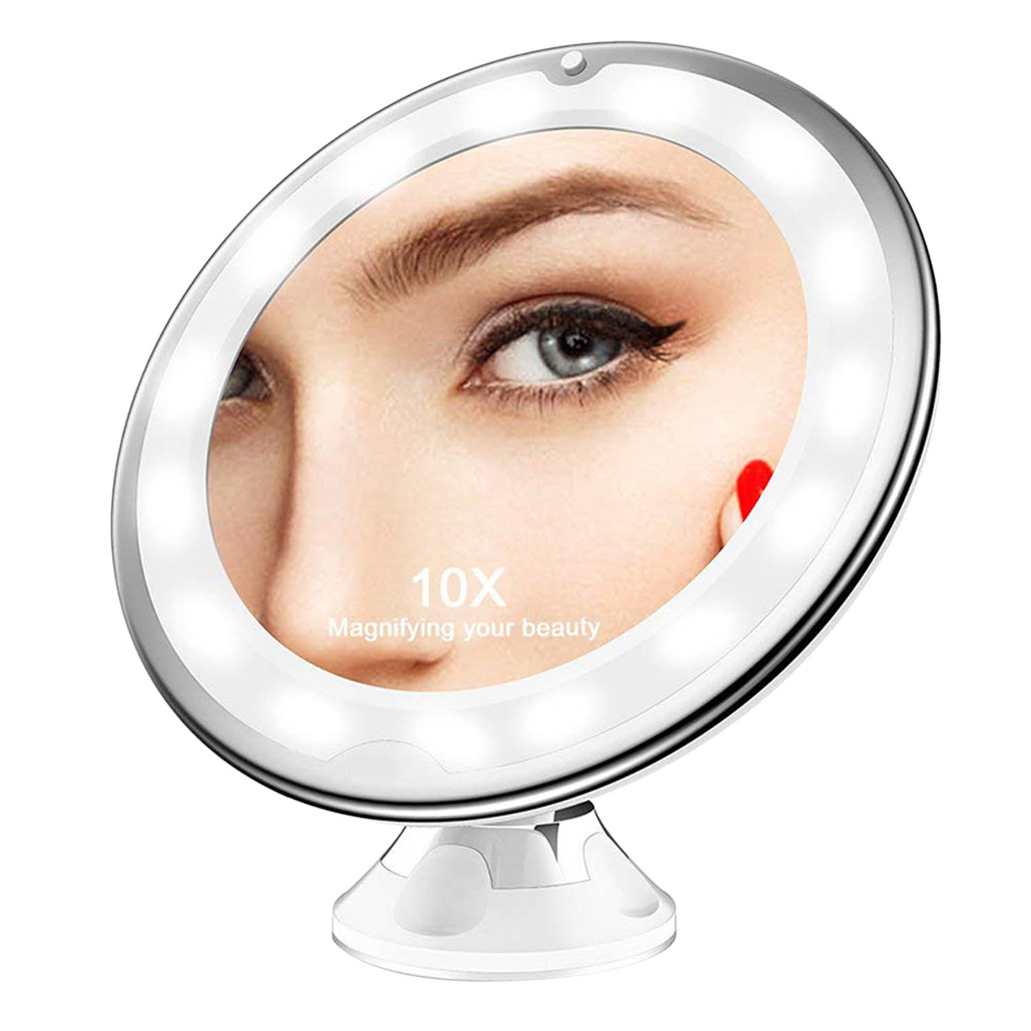 360 Degree Rotation LED 10x Magnification Makeup Mirror with Suction Cup for Bedroom Bathroom Dressing Table Makeup Room 1