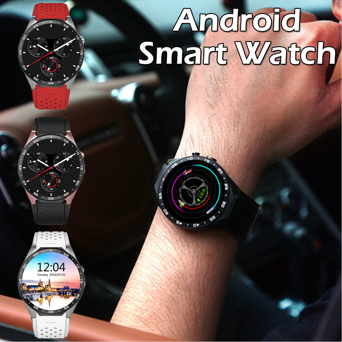 New KW88 Android5.1 200W HD camera 3G Smartwatch MTK6580 Quad Core 512MB 4GB GPS Pedometer Positioning Multifunction Smart Watch
