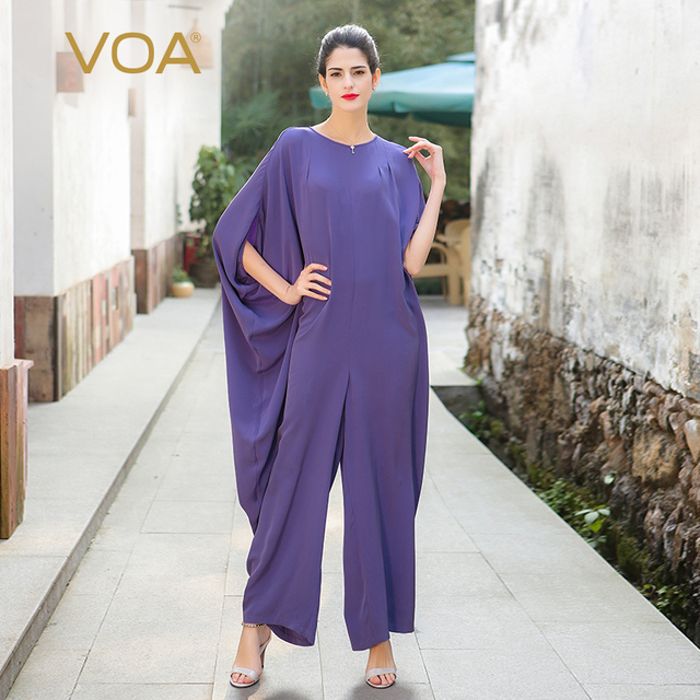 b2a595c7694b5 VOA 2017 New Fashion Plus Size Silk Jumpsuits Women Loose Solid Full Length  High Quality Purple Female Baggy Pants K7510