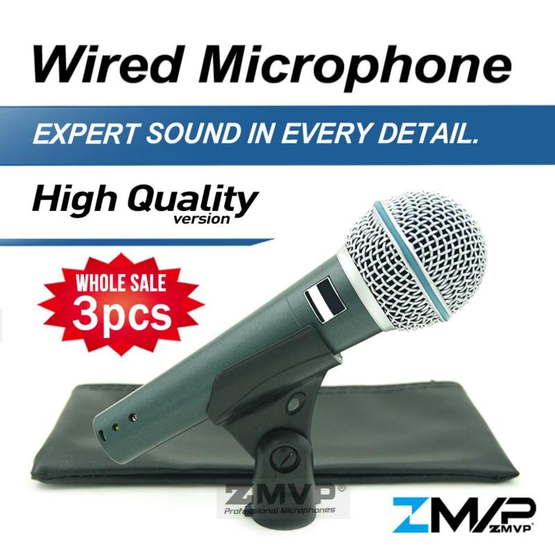 Freies Verschiffen 3 stücke Hohe Qualität Version B 58 Eine Professionelle Gesang Karaoke Hand Dynamisches 58A Kabelmikrofon Microfone Mic
