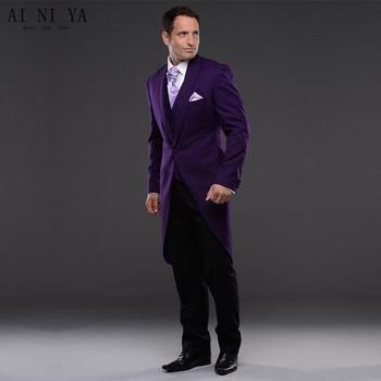 New Men Suits Purple Bridegroom 2019 Groom Tuxedo Men Wear Groomsman Best Man Suit Evening Prom Party 3 Piece