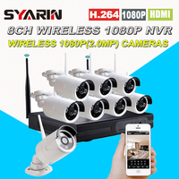 Wireless Wifi 8CH Full HD 1080P NVR CCTV System 8pcs 1080P 2 0MP Waterproof IP Camera