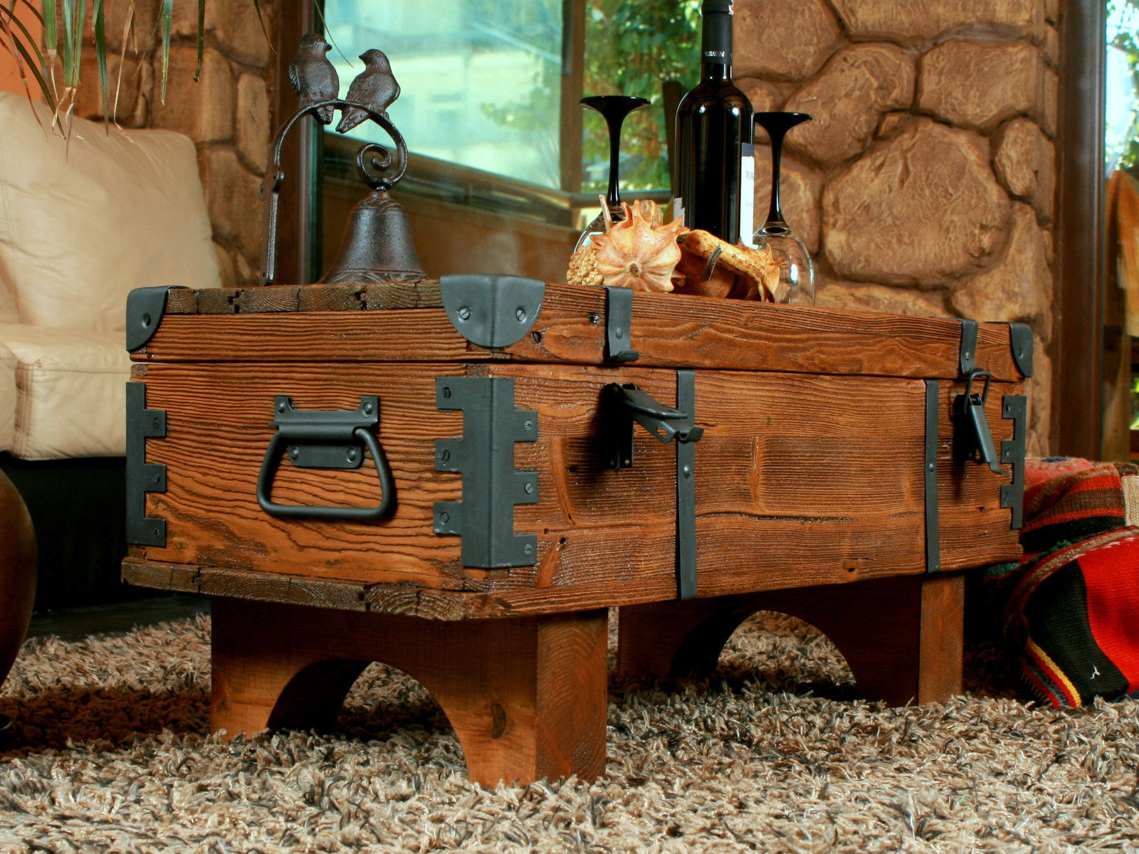 Vintage Travel Trunk Wooden Coffee Table Cottage Steamer