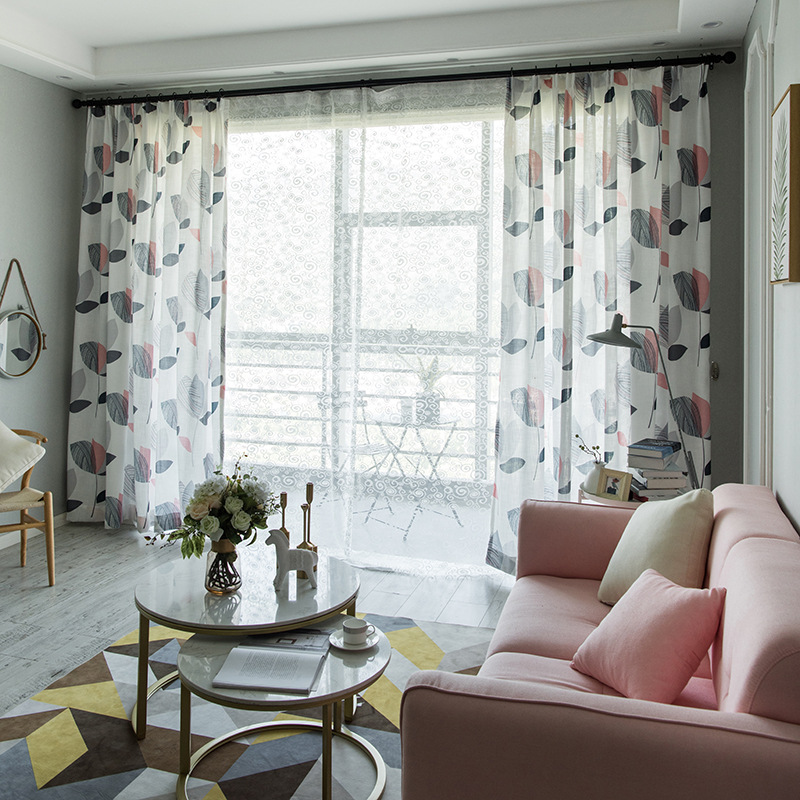 Modern Boutique Curtains For Living Dining Room Bedroom Simple Bamboo Cloth Printing Curtain Fabric