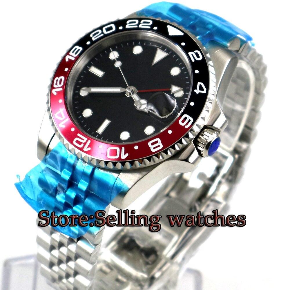 40mm PARNIS Noir stérile cadran Noir & Rouge Lunette Saphir Verre GMT Jubilé bracelet Date Boîtier En Acier Automatique Mouvement hommes de Montre