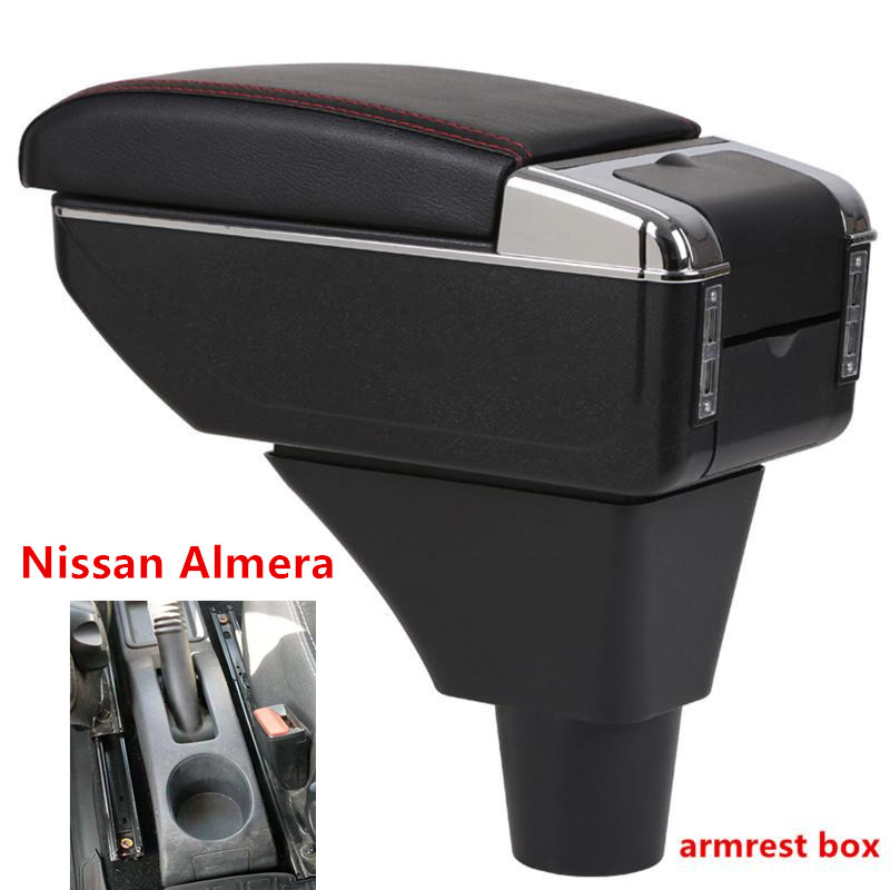 For Nissan Almera Armrest box central Store content box with cup holder ashtray with USB interface