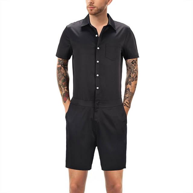 e798d313029 placeholder Fashion Men Romper Suit Solid Color Short Sleeve Casual Man  Onesies Jumpsuit Male Overalls One Piece
